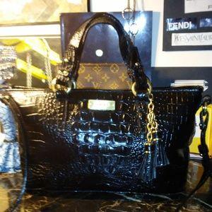 BRAHMIN black croc leather handbag